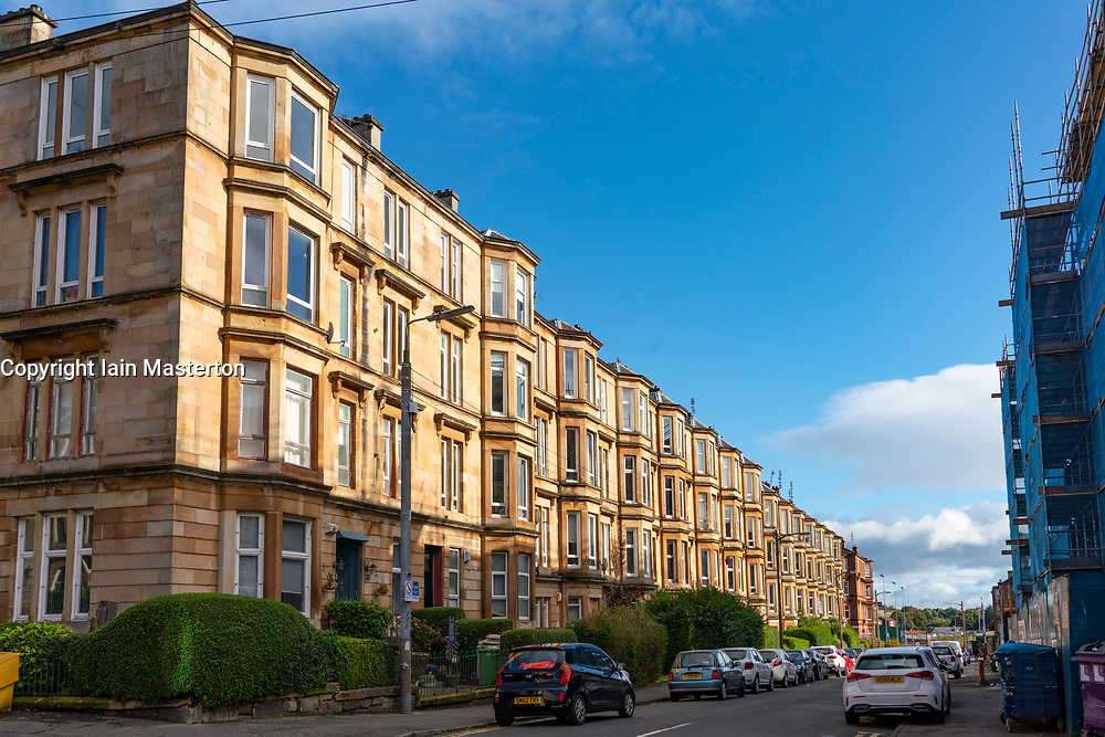 Glasgow, Scotland, UK. 7 October 2020. Time Out magazine has named Dennistoun in the East End of Glasgow as one of the world's coolest districts. Pictured; Tenement apartment buildings  on residential street in Dennistoun Iain Masterton/Alamy Live News