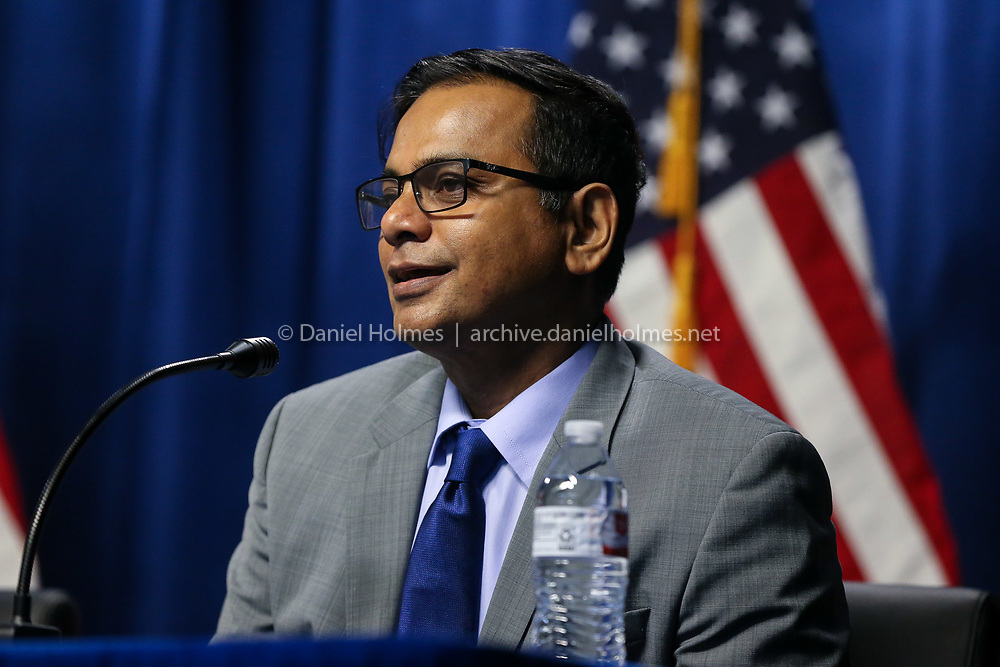 (5/1/19, HOPKINTON, MA) Candidate for Board of Selectmen, Shahidul Mannan, gives his opening statement during the debate at HCAM Television in Hopkinton on Wednesday. [Daily News and Wicked Local Photo/Dan Holmes]