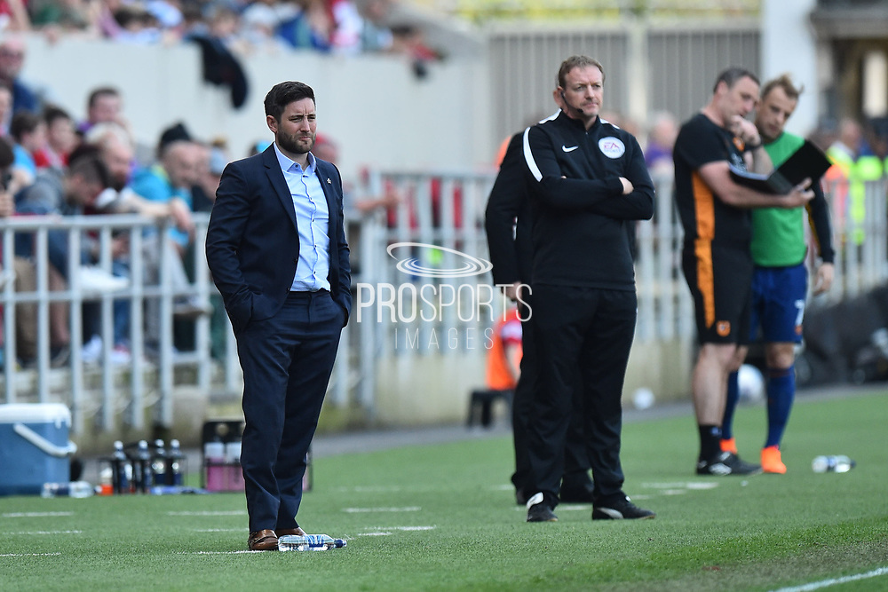 Bristol City manager Lee Johnson in the technical area during the EFL Sky Bet Championship match between Bristol City and Hull City at Ashton Gate, Bristol, England on 21 April 2018. Picture by Graham Hunt.
