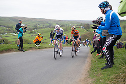 Anna van der Breggen (NED) (l) and Lizzie Deignan (GBR) (r) of Boels-Dolmans Cycling Team climb up the Cote de Lofthouse during the Tour de Yorkshire - a 122.5 km road race, between Tadcaster and Harrogate on April 29, 2017, in Yorkshire, United Kingdom.