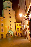 Europe, Slovakia, capitol city - Bratislava, Michael tower at night .