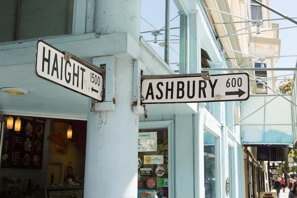 Haight Asbury street sign in San Francisco trip<br /> Copyright 2015 John O'Boyle<br /> john@johnoboyle.com