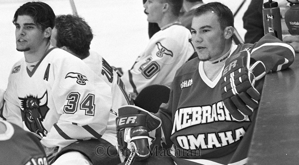 jason white and #34 jeff hoggan at hockey media day in 2000 for 2000-2001 season