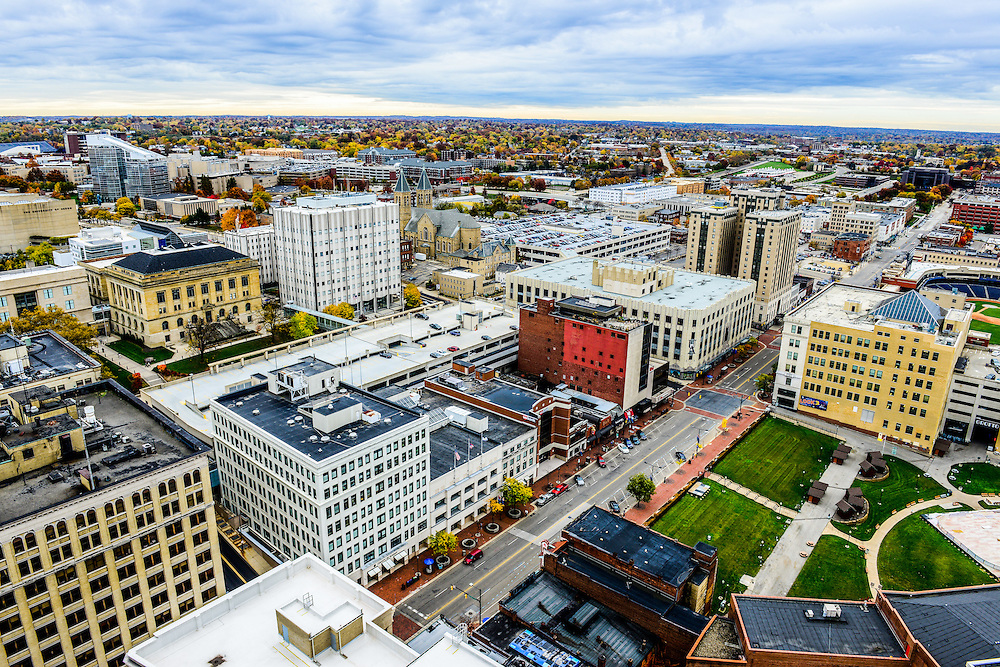 Overhead view of downtown Akron.