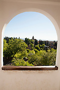 View over Generalife palace gardens, Alhambra, Granada, Spain