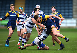 Rob Lester (Warriors AASE/Worcester Sixth Form College) of Worcester Warriors Under 18s is tackled - Mandatory by-line: Robbie Stephenson/JMP - 14/01/2018 - RUGBY - Sixways Stadium - Worcester, England - Worcester Warriors Under 18s v Yorkshire Carnegie Under 18s - Premiership Rugby U18 Academy