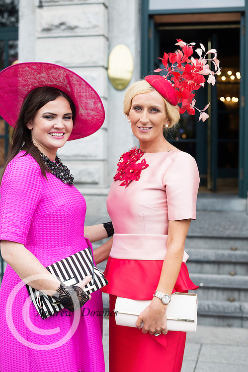 Tracy Boyle Donegal and Breda Butler Tipperary  at Hotel Meyrick Galway's 'Most Stylish Lady' Competition, a glamorous evening reception in Hotel Meyrick's Parlour Lounge on Ladies Day of the Galway Races, Thursday 28th July. Head judge this year was the stunning TG4 Rugbaí Beo sports presenter Máire Treasa Ní Dhubhghaill, assisted by a panel of leading Irish fashion experts Mandy Maher, Catwalk Model Agency and Irish model Mary Lee. The lucky winners were awarded a prize value of €2,000 worth of stunning jewellery from prize sponsors Fallers of Galway. Photo: Andrew Downes, Xposure.
