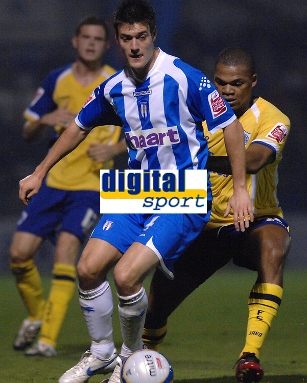 Photo: Ashley Pickering/Sportsbeat Images.<br /> Colchester United v Leicester City. Coca Cola Championship. 03/11/2007.<br /> Goal scorers Johnnie Jackson of Colchester (L) and Collins John of Leicester (R)