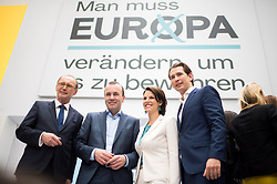 04.05.2019, Sofiensäle, Wien, AUT, ÖVP, Wahlkampfauftakt zur EU-Wahl. im Bild EU-Spitzenkandidat Othmar Karas (ÖVP), EVP-Spitzenkandidat Manfred Weber, Kandidatin Karoline Edstadler und Bundeskanzler Sebastian Kurz (ÖVP) // topcandidate Othmar Karas (OeVP), topcandidate of the EPP Manfred Weber, candidate Karoline Edtstadler and Austrian Federal Chancellor Sebastian Kurz during campaign opening regarding to Eurpean Parliment Elections of the Austrian People' s Party in Vienna, Austria on 2019/05/04. EXPA Pictures © 2019, PhotoCredit: EXPA/ Michael Gruber