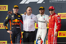 The podium of Grand Prix de France 2018 (L-R): Max Verstappen from Holland (Aston Martin Red Bull racing) 2nd classified, Ron Meadow (Mercedes team manager), Lewis Hamilton from UK (Mercedes AMG Petronas Motorsport) 1st classified, Kimi Raikkonen from Finland (Scuderia Ferrari) 3rd classified, Le Castellet on June 24th, 2018. Photo by Marco Piovanotto/ABACAPRESS.COM