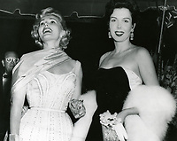 1959 Zsa Zsa Gabor and Ann Miller at a Grauman's Chinese Theater movie premiere