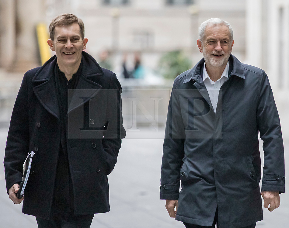 © Licensed to London News Pictures. 13/01/2019. London, UK. Labour Party Leader Jeremy Corbyn (R) and Labour Party Executive Director of Strategy and Communications Seamus Milne (L) arrive at BBC Broadcasting House to appear on The Andrew Marr Show. Photo credit: Rob Pinney/LNP