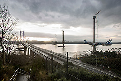 Pics of the closed Forth Road Bridge from the north, Fife side at North Queensferry.