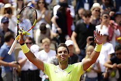 May 29, 2019 - Paris, France - Rafael Nadal of Spain celebrates victory during his mens singles second round match against Yannick Maden of Germany during Day four of the 2019 French Open at Roland Garros on May 29, 2019 in Paris, France. (Credit Image: © Ibrahim Ezzat/NurPhoto via ZUMA Press)