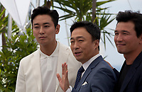Actors Jung-min Hwang,  Sung-min Lee  and actor Ji-Hoon Ju at the Gongjak (The Spy Gone North) film photo call at the 71st Cannes Film Festival, Friday 11th May 2018, Cannes, France. Photo credit: Doreen Kennedy