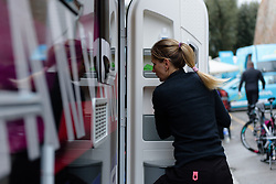 Alena Amialiusik seeks refuge in the camper at Strade Bianche - Elite Women 2018 - a 136 km road race on March 3, 2018, starting and finishing in Siena, Italy. (Photo by Sean Robinson/Velofocus.com)