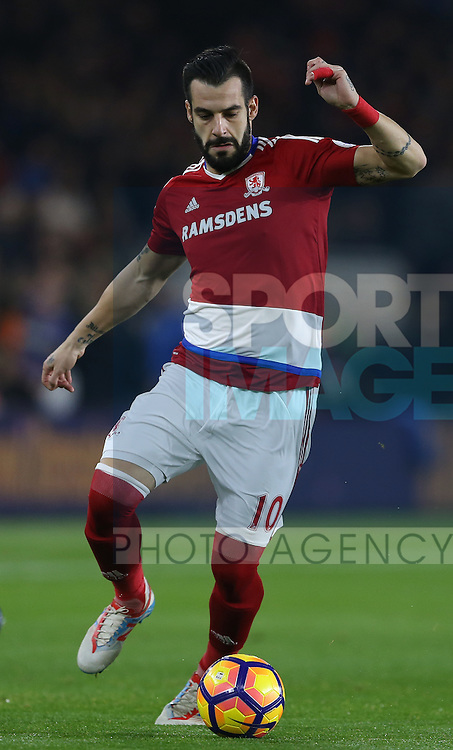 Alvaro Negredo of Middlesbrough during the English Premier League match at the Riverside Stadium, Middlesbrough. Picture date: December 14th, 2016. Pic Simon Bellis/Sportimage