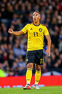 Youri Tielemans (#17) of Belgium reacts as his shot narrowly goes over the bar during the International Friendly match between Scotland and Belgium at Hampden Park, Glasgow, United Kingdom on 7 September 2018.