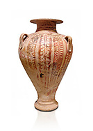 Minoan decorated pithos stirrup jar with floral design , Zafer Papoura 1400-1250 BC; Heraklion Archaeological Museum, white background .<br /> <br /> If you prefer to buy from our ALAMY PHOTO LIBRARY  Collection visit : https://www.alamy.com/portfolio/paul-williams-funkystock/minoan-art-artefacts.html . Type -   Heraklion   - into the LOWER SEARCH WITHIN GALLERY box. Refine search by adding background colour, place, museum etc<br /> <br /> Visit our MINOAN ART PHOTO COLLECTIONS for more photos to download  as wall art prints https://funkystock.photoshelter.com/gallery-collection/Ancient-Minoans-Art-Artefacts-Antiquities-Historic-Places-Pictures-Images-of/C0000ricT2SU_M9w