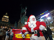 Anti Santa Claus demonstration at Wenceslas Square in the city centre of Prague. The goal of the Anti Santa Claus demo is to move Santa Claus back where he belongs - to the to the United States, England and other countries of anglo-saxon tradition and to get back the old Czech tradition when Baby Jesus brings the children gifts.