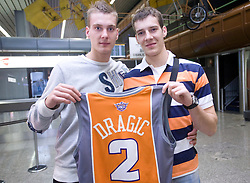 Basketball player Goran Dragic (with his brother Zoran) leaving his home in Slovenia and have a flight to Phoenix, USA, where he has signed a contract for Phoenix Suns Team, NBA, on September 27, 2008, in Airport Jozeta Pucnika, Brnik, Slovenia.  (Photo by Vid Ponikvar / Sportal Images)