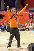 Nederlandse Olympische ploeg komt thuis en wordt gehuldigd op het plein voor Station Den Bosch.<br /> <br /> Op de foto:  Epke Zonderland