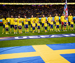 November 20, 2018 - Stockholm, Sweden - 181120 The players of Sweden during lineup prior to the Nations League football match between Sweden and Russia on November 20, 2018 in Stockholm..Photo: Petter Arvidson / BILDBYRÃ…N / kod PA / 87811 (Credit Image: © Petter Arvidson/Bildbyran via ZUMA Press)
