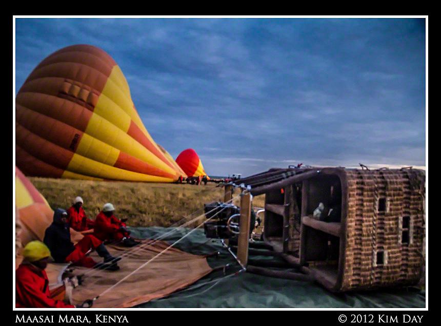 Crew Waiting To Launch.Hot Air Balloon Ride Over Maasai Mara, Kenya.September 2012