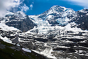 Eiger Glacier, Eigergletscher, between Monch (Monk) and Eiger mountains in the Swiss Alps, Bernese Oberland, Switzerland