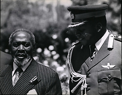 Nov. 11, 1971 - Enclosed please find two pictures taken in Nairobi today when President of Uganda General Idi Amin arived here to have talks with President Hzee Jomo Kenyatta. This is the first time that President Amin and President Kenyatta met. They discussed the East African crisis since the Uganda Military take over. Uganda and Tanzania troops are facing each other across the border and this has threated the break of East African Community. Picture Shows: President Idi Amin and President Kenyatta at State House in Nairobi. (Credit Image: © Keystone Press Agency/Keystone USA via ZUMAPRESS.com)