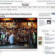 "Screengrab of ""Ireland: Permit Allowing a Few Pints Tests a Tolerance for Drunken Driving"" published in The New York Times"