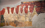 Mythical medieval animal. A 12th Century Romanesque fresco from the Church of Saint Joan Boi, al de Boi, Spain. National Art Museum of Catalonia, Barcelona. MNAC 15953 .<br /> <br /> If you prefer you can also buy from our ALAMY PHOTO LIBRARY  Collection visit : https://www.alamy.com/portfolio/paul-williams-funkystock/romanesque-art-antiquities.html<br /> Type -     MNAC     - into the LOWER SEARCH WITHIN GALLERY box. Refine search by adding background colour, place, subject etc<br /> <br /> Visit our ROMANESQUE ART PHOTO COLLECTION for more   photos  to download or buy as prints https://funkystock.photoshelter.com/gallery-collection/Medieval-Romanesque-Art-Antiquities-Historic-Sites-Pictures-Images-of/C0000uYGQT94tY_Y
