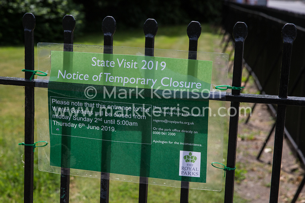 London, UK. 1 June, 2019. A notice warning of a temporary closure close to Winfield House, residence of the US ambassador to the UK, part of a large Metropolitan Police security operation being implemented in advance of the state visit of President Trump.