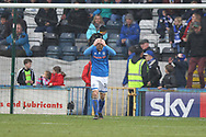 Goal despair for Matty Done holding his head after his own goal equalises for Portsmouth 3-3 during the EFL Sky Bet League 1 match between Rochdale and Portsmouth at Spotland, Rochdale, England on 7 April 2018. Picture by Daniel Youngs.