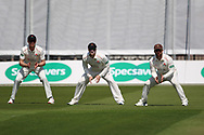 Lancashires Keaton Jennings, Liam Livingstone & Steven Croft  slips during the Specsavers County Champ Div 2 match between Lancashire County Cricket Club and Northamptonshire County Cricket Club at the Emirates, Old Trafford, Manchester, United Kingdom on 14 May 2019.
