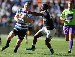 Cape Town-180929-Western Province wing SP Marais  tackled by Aphelele Fassi  of the Cell C Sharks in a Currie cup Clash at Newlands Stadium  .Photographs:Phando Jikelo/African News Agency/ANA