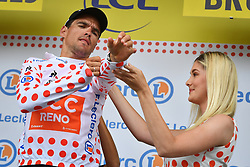 July 6, 2019 - Brussels, Belgium - Belgian Greg Van Avermaet of CCC Team celebrates on the podium in the red polka-dot jersey for best climber after the first stage of the 106th edition of the Tour de France cycling race, 194,5km from and to Brussels, Belgium, Saturday 06 July 2019. This year's Tour de France starts in Brussels and takes place from July 6th to July 28th. (Credit Image: © David Stockman/Belga via ZUMA Press)