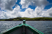 Prow of motor boat during boat trip on Dunvegan Loch, the Isle of Skye, Scotland