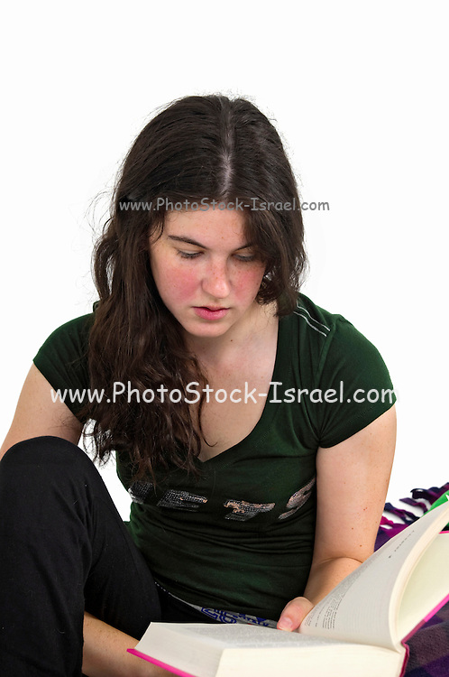 Young female adult reads a book