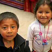 Americas, South America, Peru, Pisac. Kids of Pisac market.