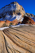 Afternoon light on snow dusted sandstone formations in upper Zion Canyon, Zion National Park, Utah