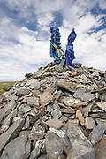 ovo,  sacred donation mound, Mongolia. a place for the people to leave donations of money and possessions for the gods