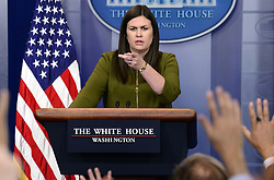 July 18, 2017 - Washington, District of Columbia, United States of America - White House Deputy Press Secretary Sarah Huckabee Sanders conducts the daily briefing in the Brady Press Briefing Room of the White House in Washington, DC on Tuesday, July 18, 2017..Credit: Ron Sachs / CNP (Credit Image: © Ron Sachs/CNP via ZUMA Wire)
