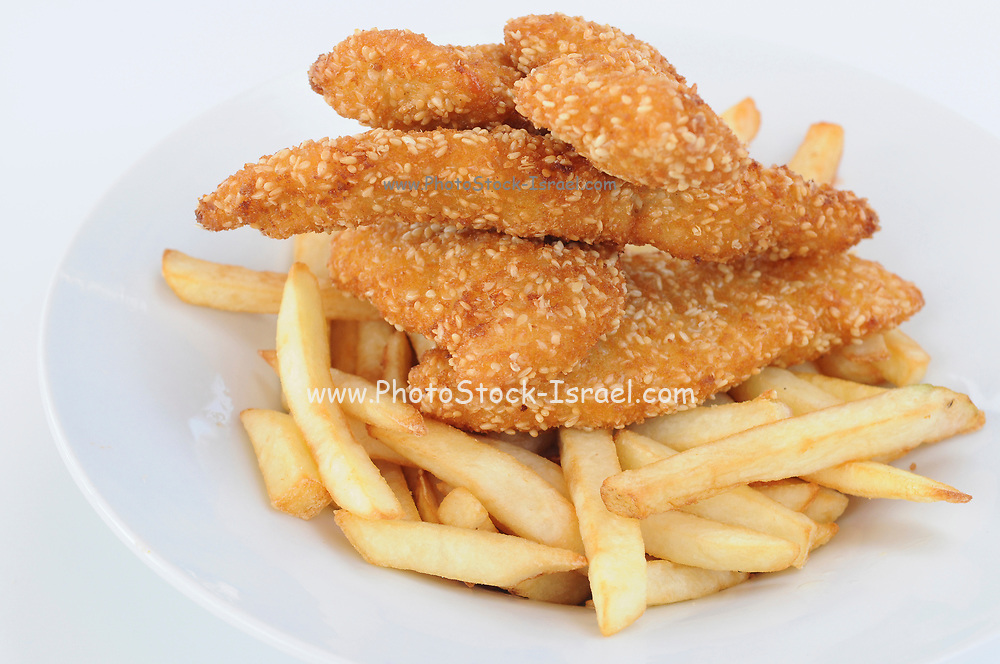 Sesame seed breaded chicken escalope with French Fries (Chips)