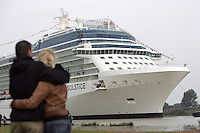 Celebrity Solstice, the most widely heralded ship to enter the cruise industry this year, sets sail from Papenburg, Germany, where she was built. This is the first of five Solstice class ships Celebrity Cruises will  launch between now and 2012, and the first cruise ship with an authentic grass lawn on its to deck...