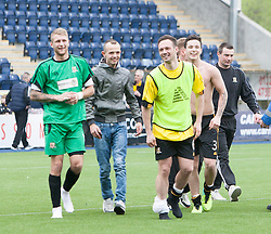 Alloa Athletic's fans and players after they found out their staying up.<br /> Falkirk 3 v 1 Alloa Athletic, Scottish Championship game played today at The Falkirk Stadium.<br /> © Michael Schofield.