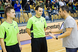 Referees Bostjan Zitnik, Mitja Smolko and Branko Tamse, head coach of RK Celje PLduring handball match between RK Celje Pivovarna Lasko and RK Gorenje Velenje in Eighth Final Round of Slovenian Cup 2015/16, on December 10, 2015 in Arena Zlatorog, Celje, Slovenia. Photo by Vid Ponikvar / Sportida
