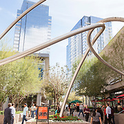 The downtown Phoenix lunch crowd enters CityScape at the corner of 1st Avenue and Washington Street, where restaurants like Jimmy John's, Chipotle, Starbucks and Five Guys are located. CityScape in downtown Phoenix offers shopping, dining and entertainment in the heart of the city.
