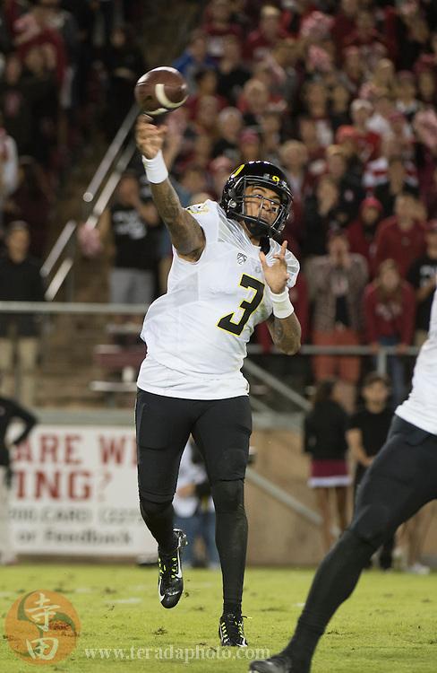 November 14, 2015; Stanford, CA, USA; Oregon Ducks quarterback Vernon Adams Jr. (3) passes the football during the fourth quarter against the Stanford Cardinal at Stanford Stadium. The Ducks defeated the Cardinal 38-36.