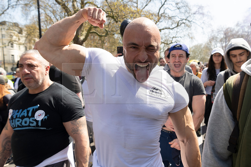 © Licensed to London News Pictures. 24/04/2021. London, UK. North London gym owner ANDREAS MICHLI attends an anti-vaccination and anti-lockdown demonstration in central London. It has been over a year since the UK went into lockdown due to the rise in Covid-19 cases. Photo credit: Ray Tang/LNP
